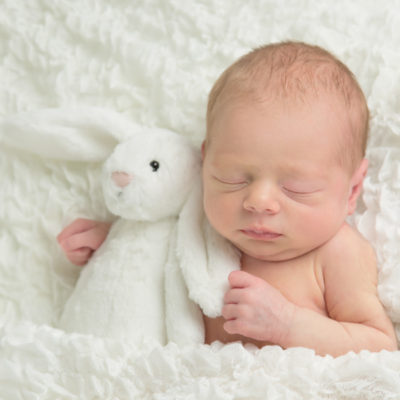 newborn with teddy