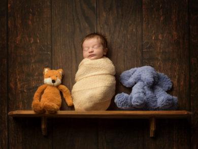 Newborn on a shelf with teddies (composite)