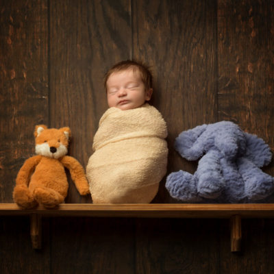 Newborn on a shelf with teddies (composite)