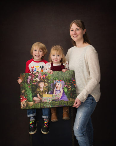 photo of winning family collecting their canvas wall portrait